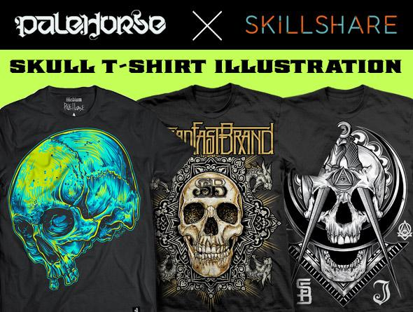 Illustrate A Screen-Printed Skull T-shirt From Photo Reference