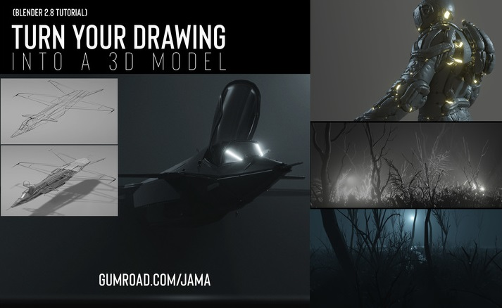 Turn your 2D drawing into a 3D model using Grease Pencil by Jama Jurabaev