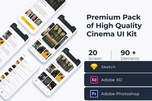Cinema Movie UI KIT for XD Photoshop and Sketch