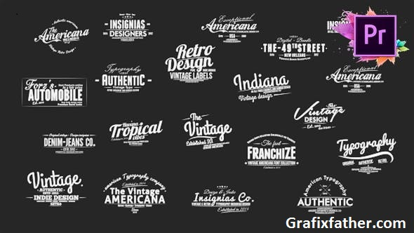 Videohive Vintage Typography Pack 26 Animated Badges Mogrt 21674446