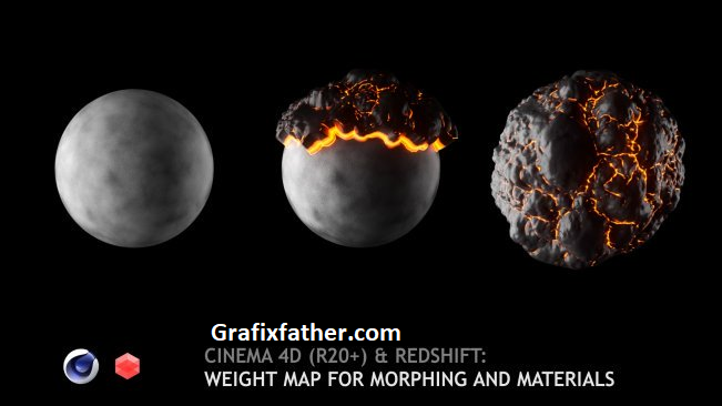 Cinema 4D (R20+) & Redshift Weight (Vertex) map for morphing and materials