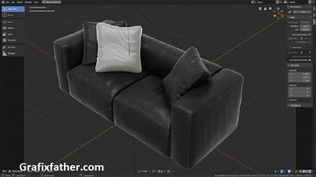 Modeling A Leather Couch In Blender + Scene 2.8 Eevee