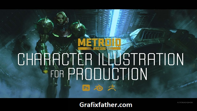 Metroid Cinematic Character Illustration for Production