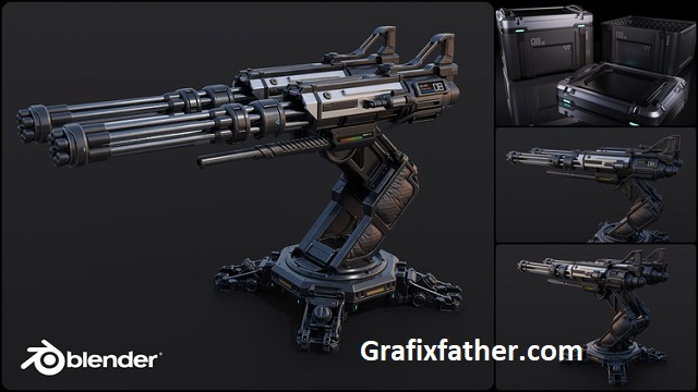 Blender Complete PBR Art Creation Sci-fi Crate and Turret